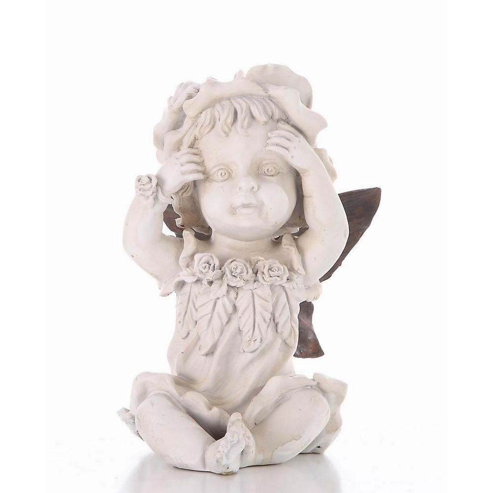 Hi-Line Gift Baby Fairy Hands on Face Statue
