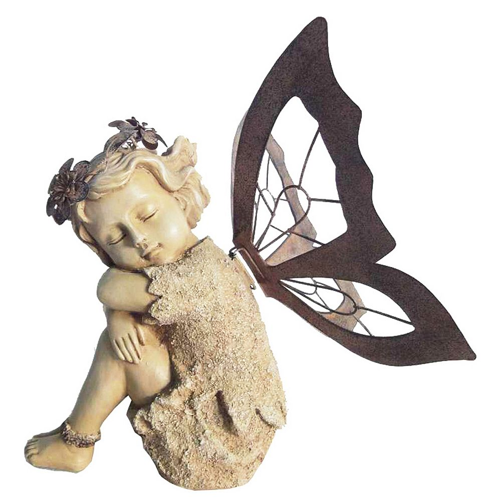 Hi-Line Gift Fairy Sitting with Metal Wings Statue
