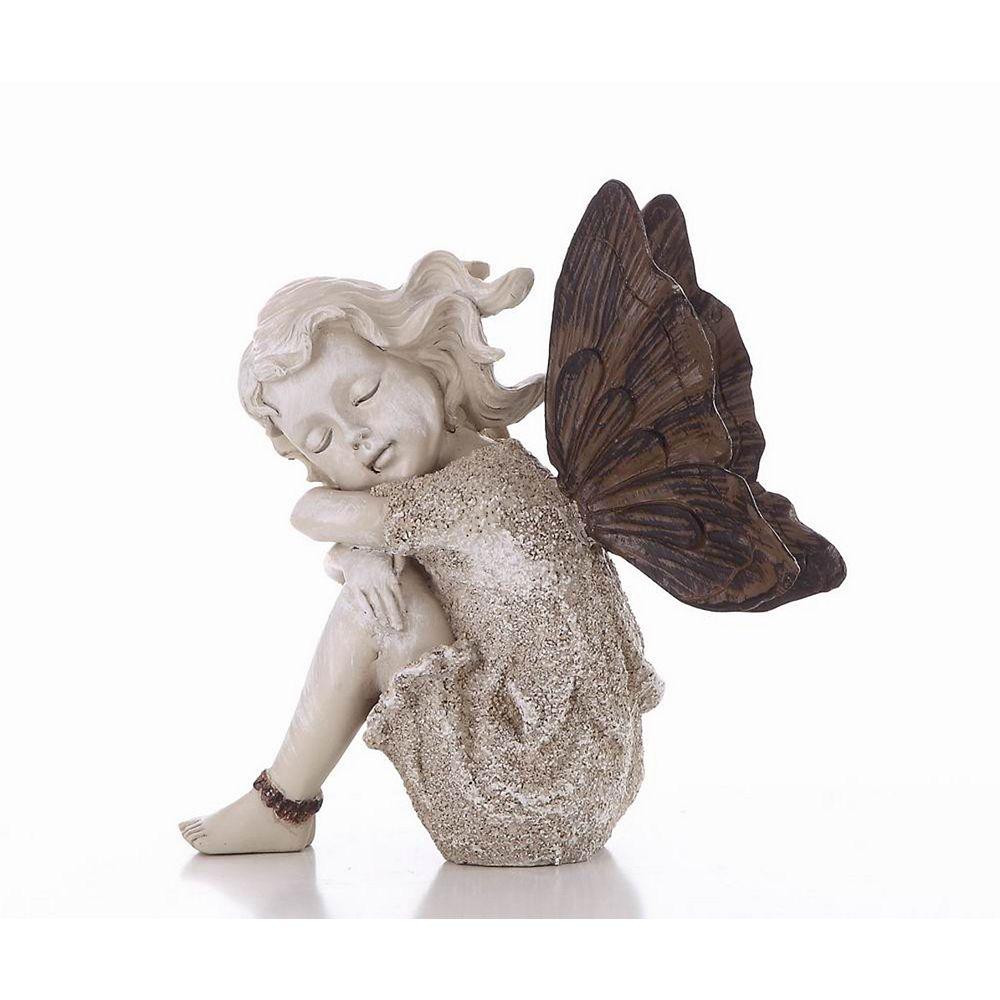 Hi-Line Gift Fairy Sitting Statue, Sand Finish