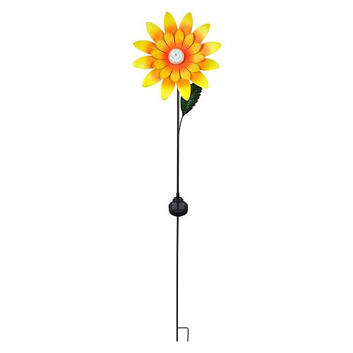 Sunflower Staker with Solar LED Lights Statue, 55 Tall