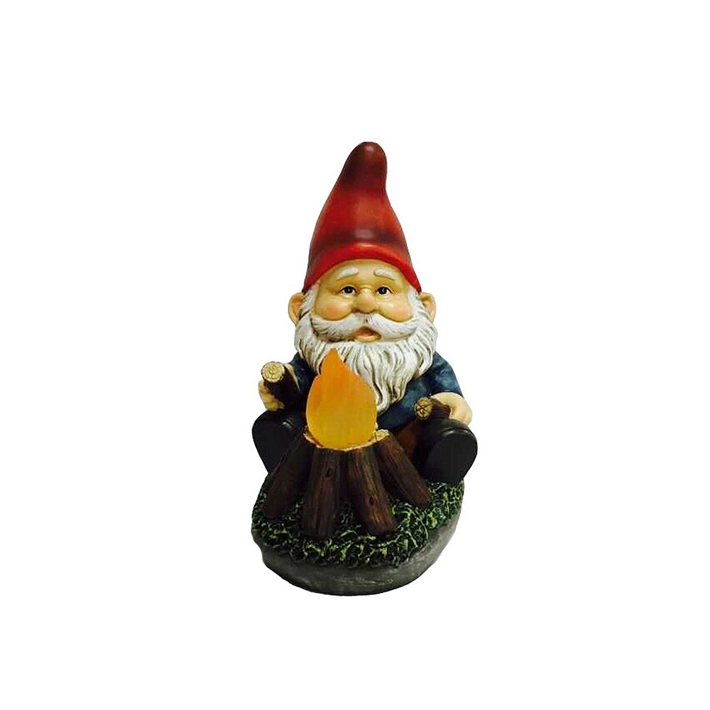 Hi-Line Gift Gnome Sitting By Glowing Campfire Statue