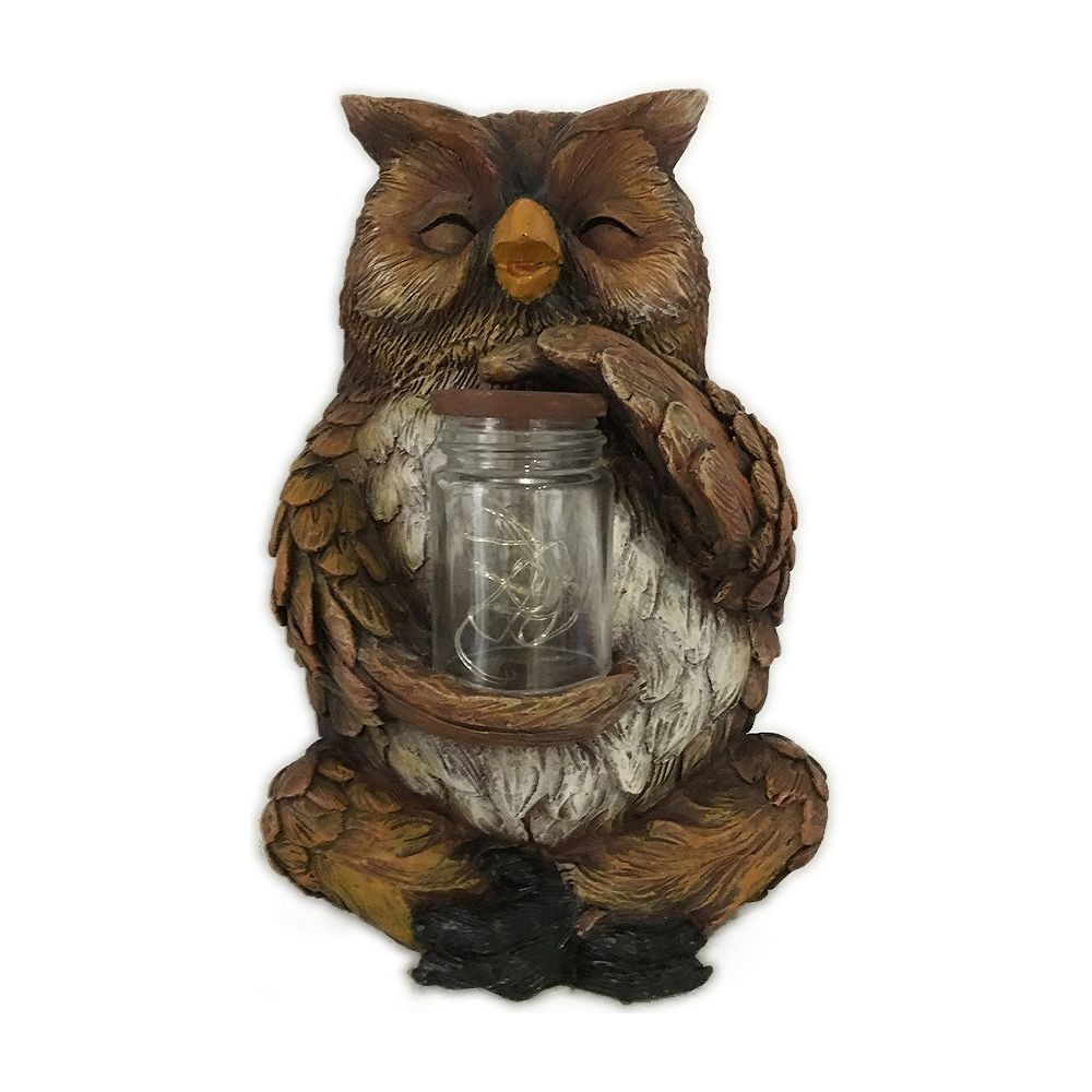 Hi-Line Gift Owl Sitting with Fairy Light in Jar Statue