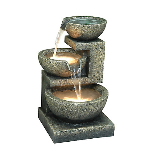 3 Bowls with 2 LED Warm White Lights Fountain