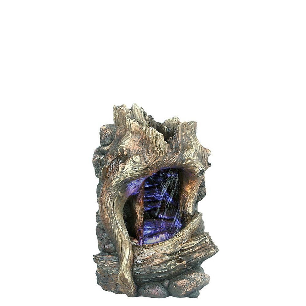 Hi-Line Gift Fontaine avec lumière DEL Tronc d'arbre Petit