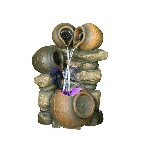 3 Jugs Pouring with LED Light Fountain