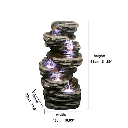 7-Level Slate Stone with Lights Fountain