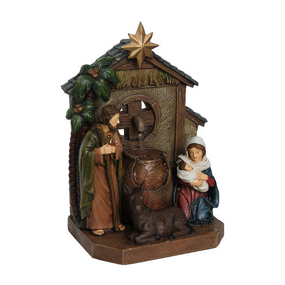 Hi-Line Gift Fontaine  Scène de la Nativité avec  vase et âne