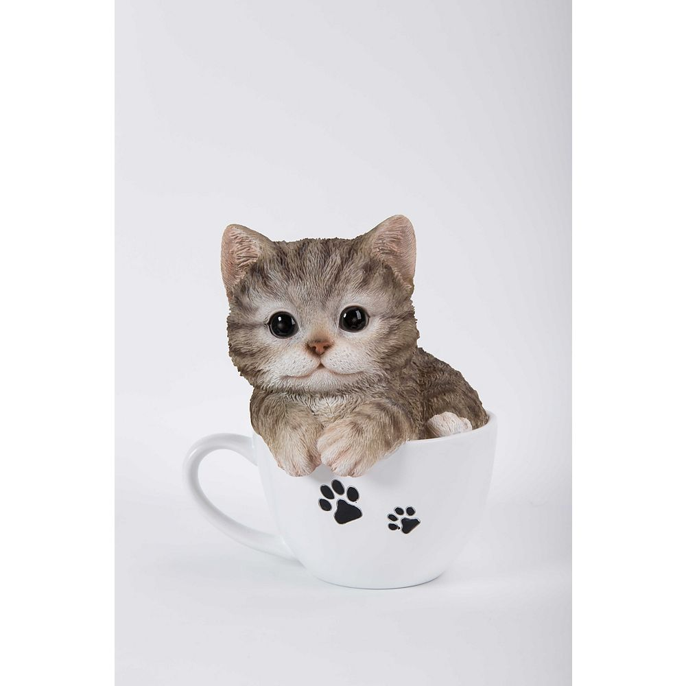 Hi-Line Gift Teacup Grey Tabby Kitten Statue