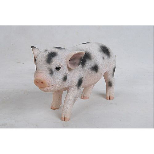 Hi-Line Gift Baby Pig with Black Spots Standing Statue
