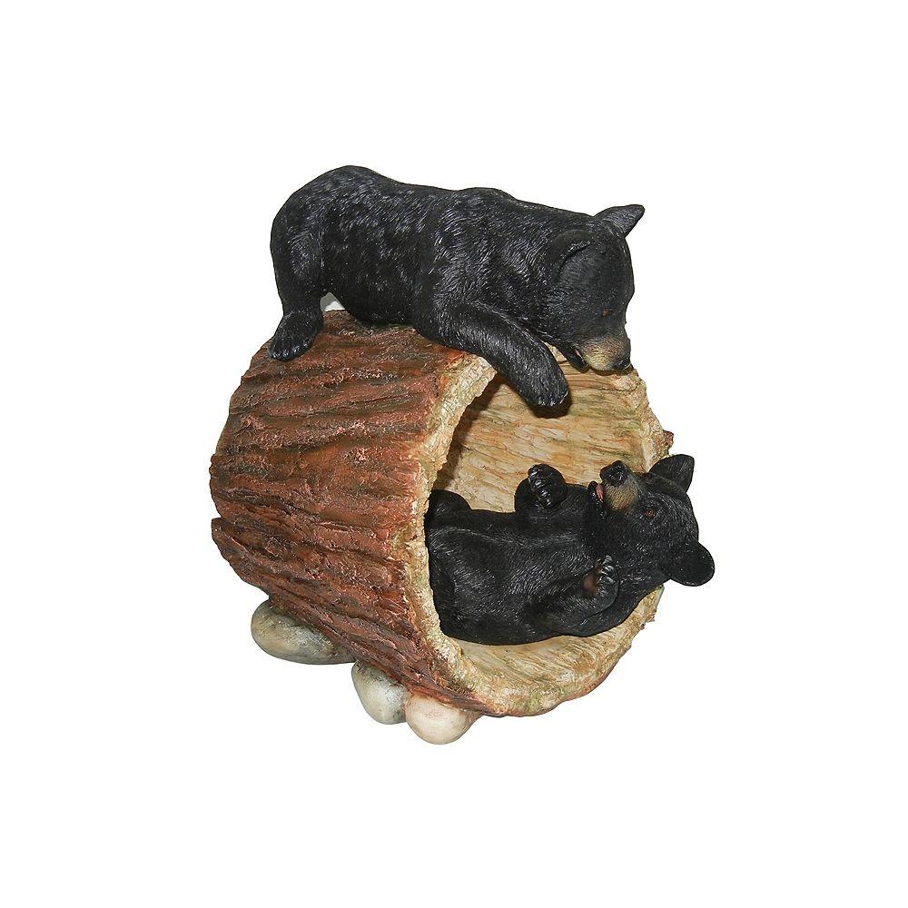 Hi-Line Gift Oursons noirs en train de jouer dans un tronc d'arbre