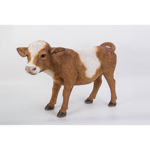 Hi-Line Gift Statue d'une vache, brun  et blanc, en position debout