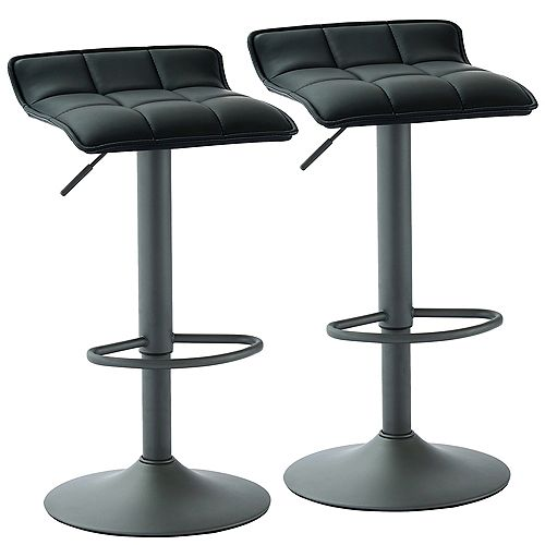 Comet Adjustable Height Faux Leather Stool, Black, (Set of 2)