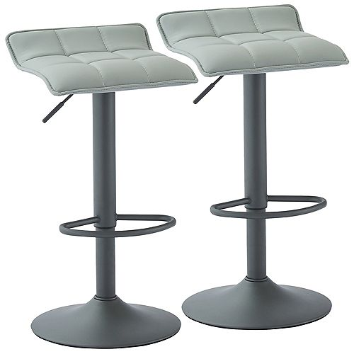 comet Adjustable Height Faux Leather Stool, Grey, (Set of 2)