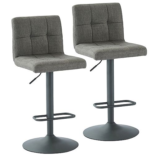 Sorb Adjustable Height Fabric Stool, Grey, (Set of 2)