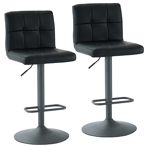Fusion Adjustable Height Faux Leather Stool, Black, (Set of 2)