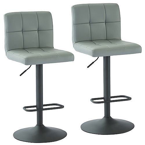 Fusion Adjustable Height Faux Leather Stool, Grey, (Set of 2)