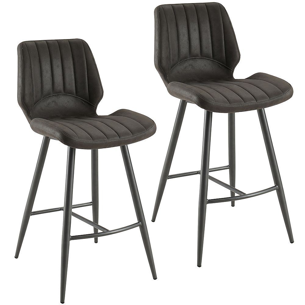 !nspire Aspira Faux Suede Counter Stool, Grey, (Set of 2)