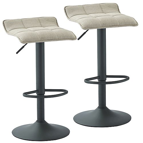 Pluto Adjustable Height Fabric Stool, Beige, (Set of 2)
