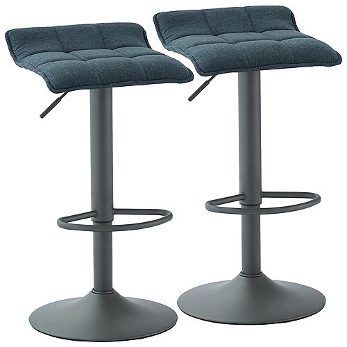 Pluto Adjustable Height Fabric Stool, Blue/Grey, (Set of 2)