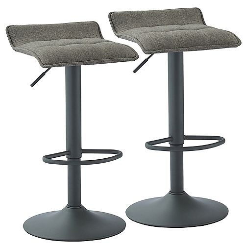 Pluto Adjustable Height Fabric Stool, Grey, (Set of 2)