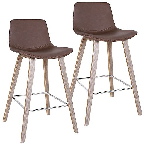 !nspire Durant Mid Century Counter Stool, Brown, (Set of 2)