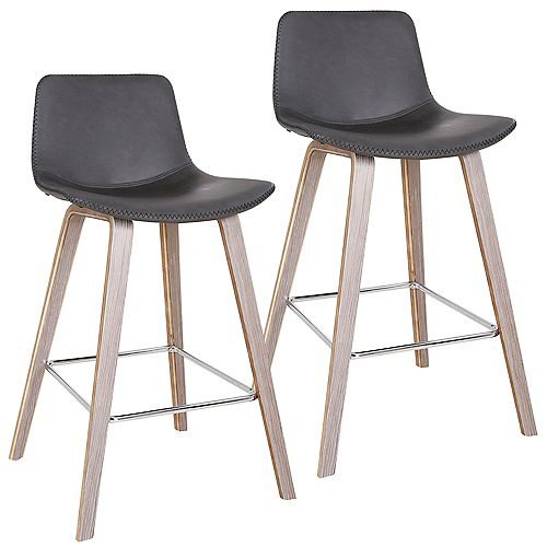 Durant Mid Century Counter Stool, Charcoal, (Set of 2)