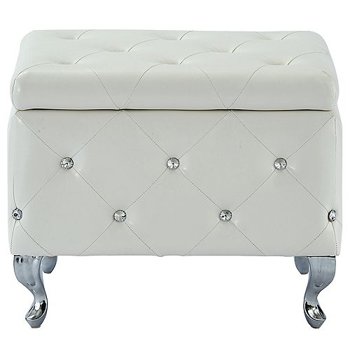 Monique Faux Leather Storage Bench with Crystals, White
