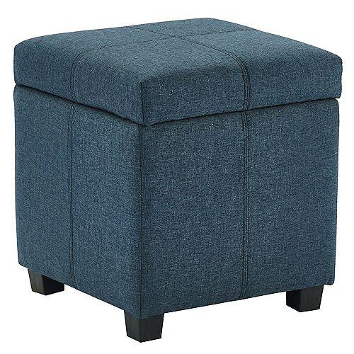 Juno Hinged Lid Storage Ottoman, Grey/Blue