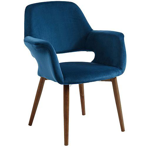 Miranda Velvet Accent Chair, Blue