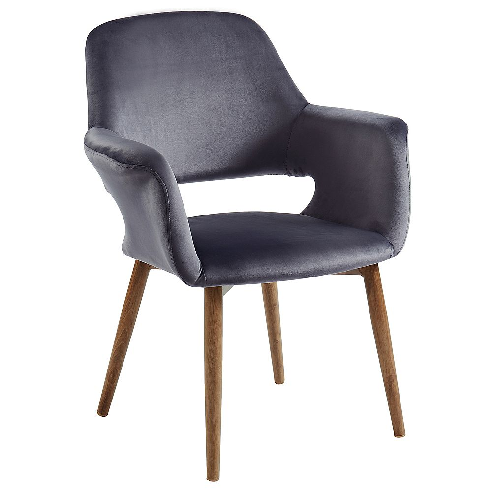 WHI Miranda Velvet Accent Chair, Grey