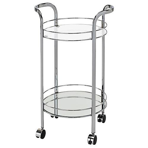 Neema 2 Tier Glass/Chrome Bar Cart