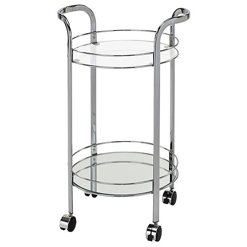 Neema 2 Tier Glass/Chrome Bar Cart