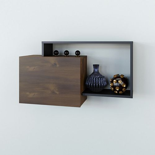Paisley Wall Shelf, Truffle and Black