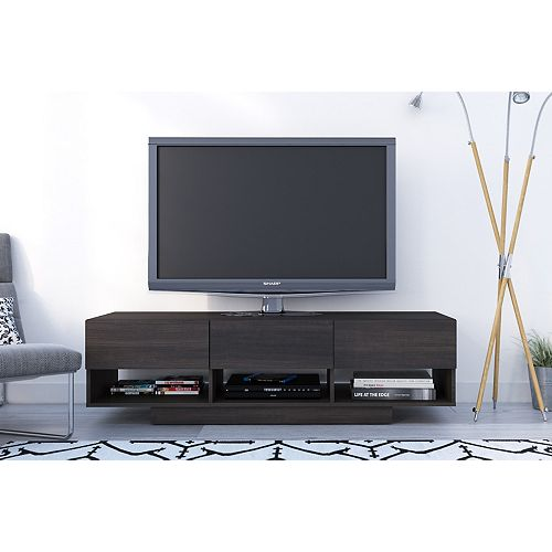 Rustik 60 inch 3-Drawer TV Stand in Ebony
