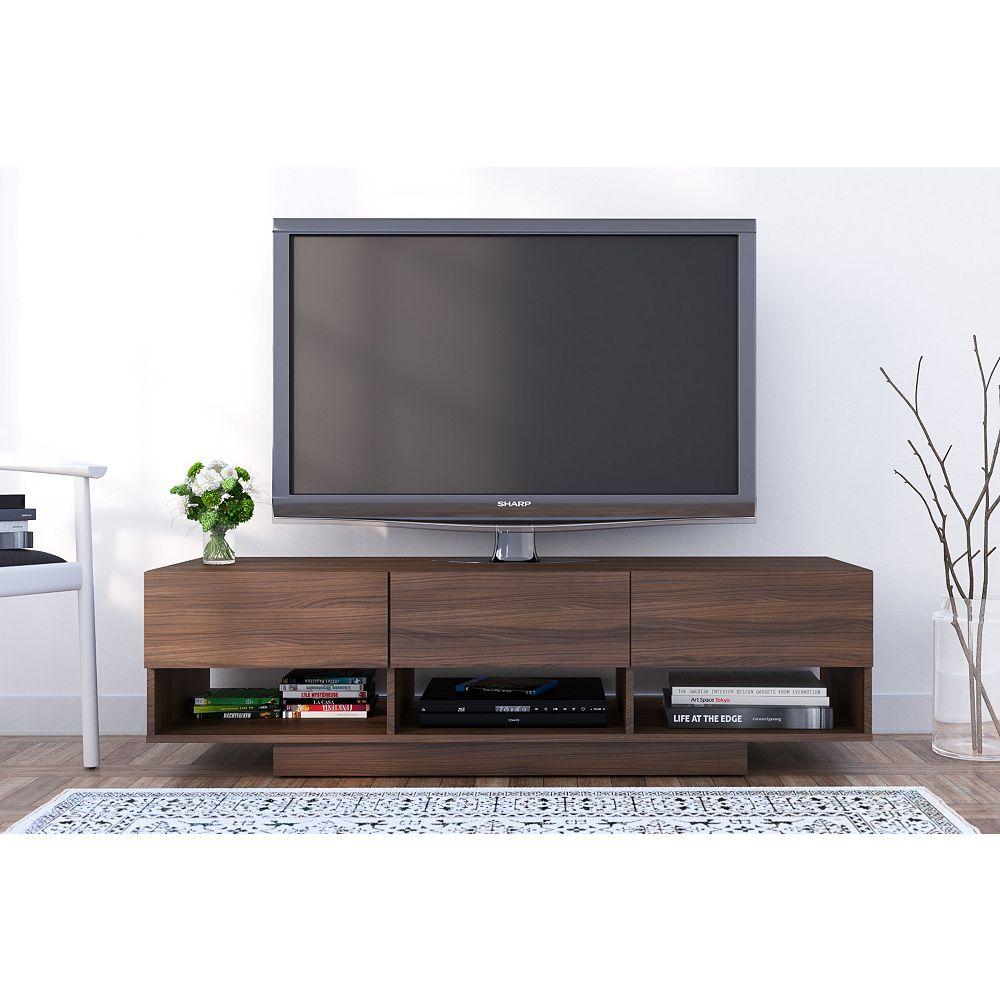 Nexera Rustik 60 inch 3-Drawer TV Stand in Walnut