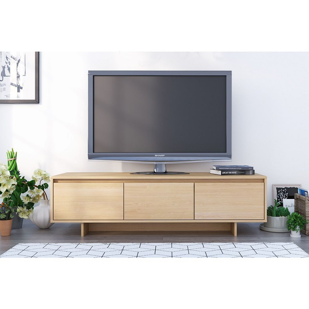 Nexera Rustik 60 inch TV Stand, Natural Maple