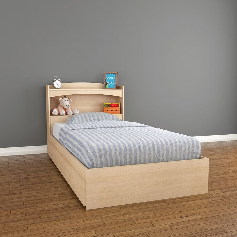 Nexera Lit rangement et tête de lit simple Alegria, Érable Naturel