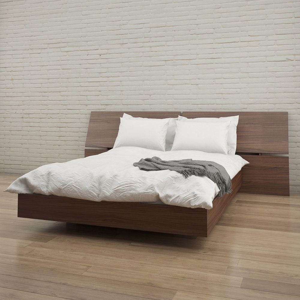 Nexera Alibi Queen Size Headboard and Platform Bed, Walnut
