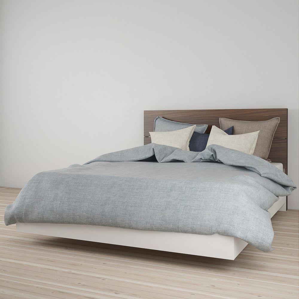 Nexera Celebri-T Queen Size Headboard and Platform Bed, White and Walnut