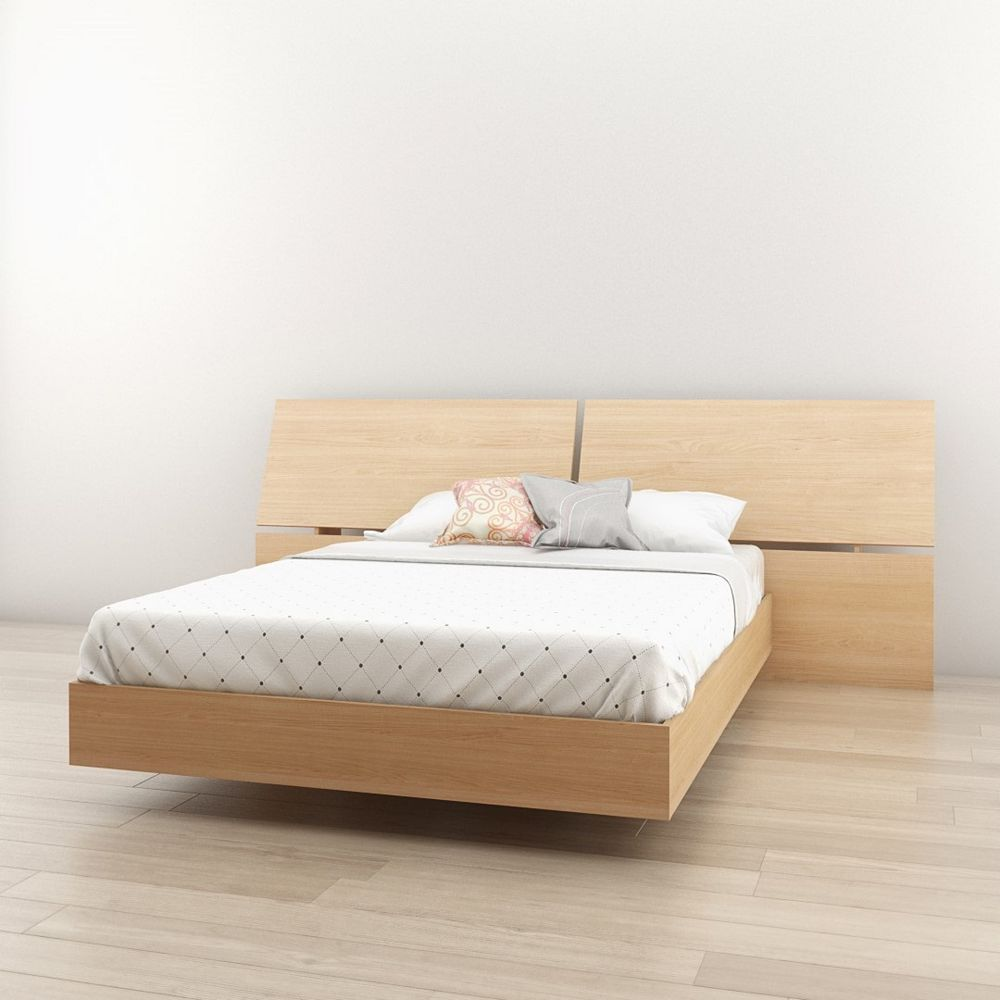 Nexera Kabane Full Size Platform Bed and Panoramic Headboard, Natural Maple