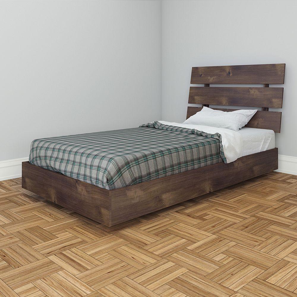 Nexera Nocce Twin Size Heabdoard and Platform Bed, Truffle