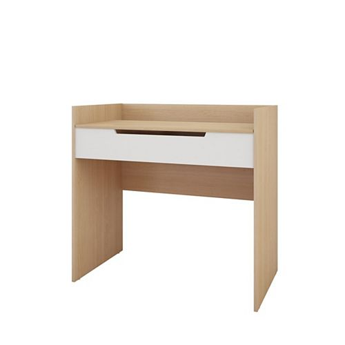 Nordik Vanity/Desk in White and Natural Maple with Enclosed Storage and Mirror
