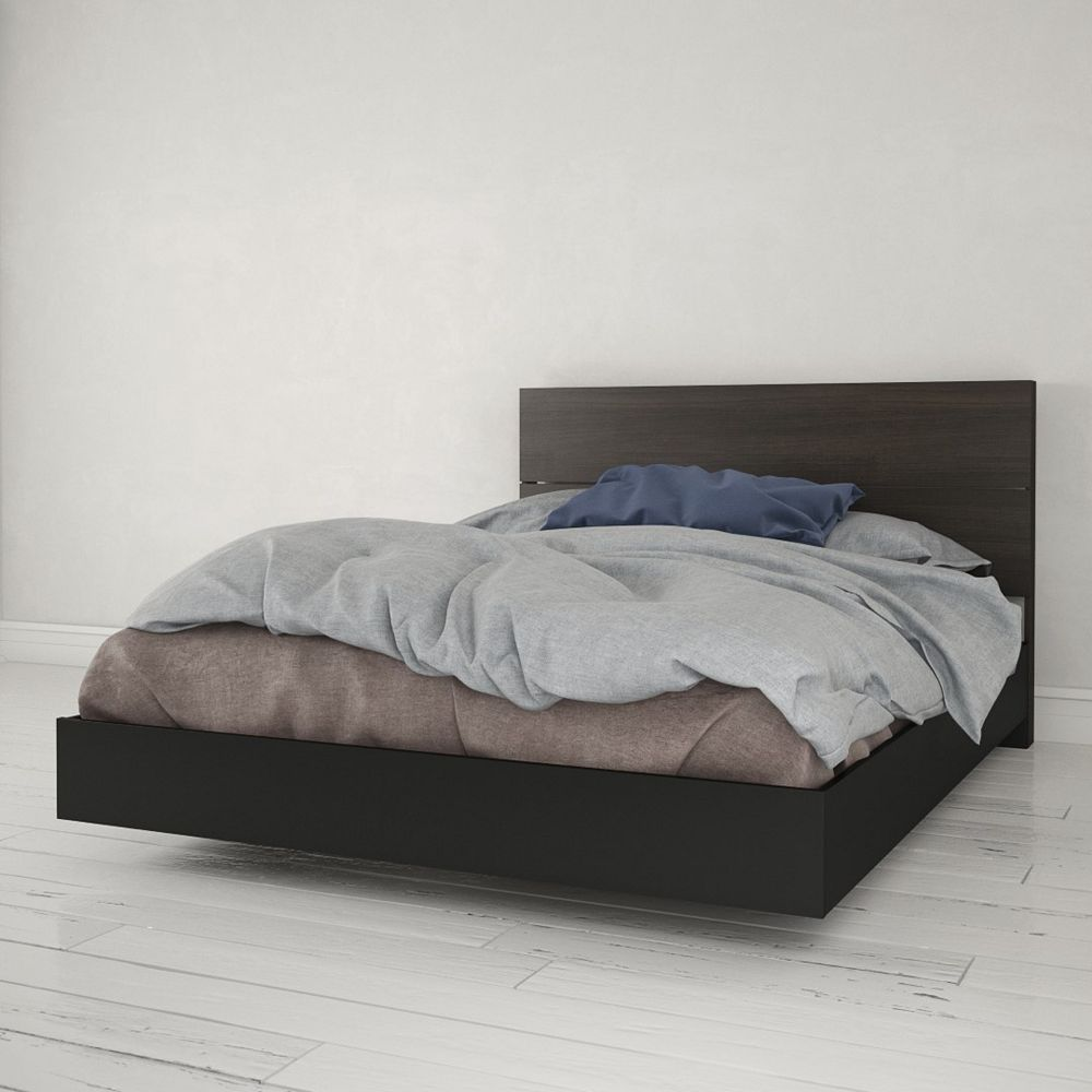 Nexera Lit plateforme Queen Opaci-T avec tête de lit,  noir et ébène