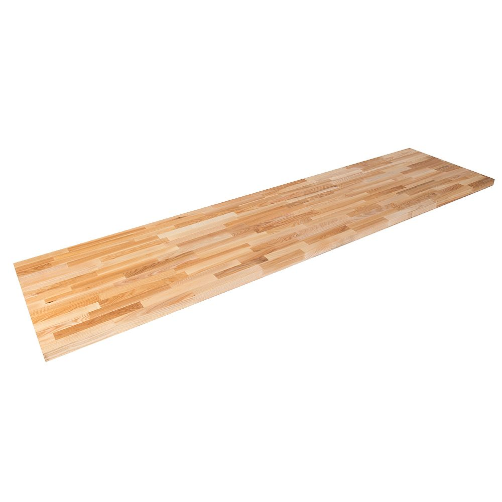 Hardwood Reflections 50 inch X 25 inch X 1.5 inch Wood Butcher Block Countertop in Unfinished European Ash