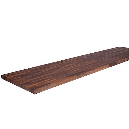 Hardwood Reflections 98 inch X 25 inch X 1.5 inch Wood Butcher Block Countertop in Unfinished European Walnut