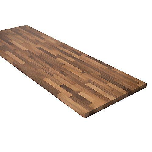 Hardwood Reflections 74 inch X 39 inch X 1.5 inch Wood Butcher Block Countertop in Unfinished European Walnut