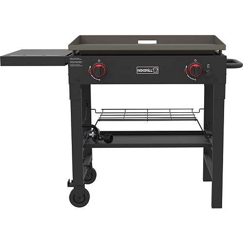 2-Burner Propane BBQ in Black with Griddle Top