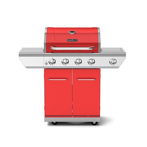 4-Burner Propane BBQ in Red with Side Burner