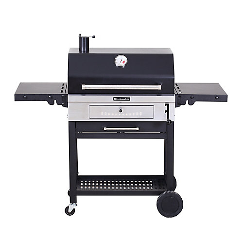 Heavy Duty Cart-Style Charcoal BBQ in Black