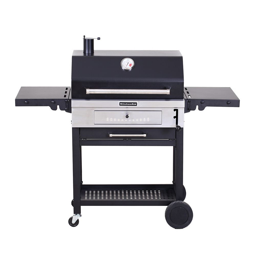 KitchenAid Heavy Duty Cart-Style Charcoal BBQ in Black